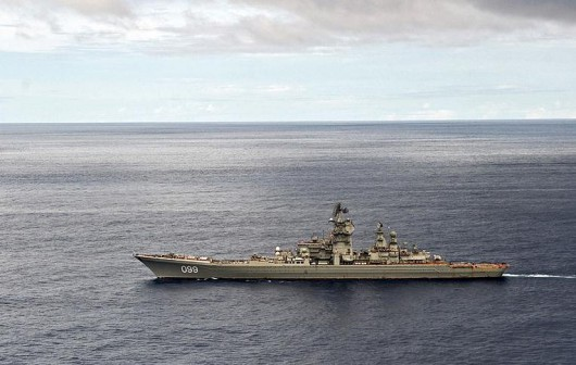 Demonstration of Firing Drill Takes Place on board Petr Veliky