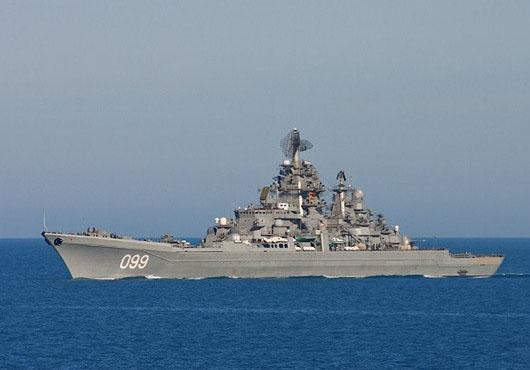 NF Missile Cruiser Petr Vliky Passes Kara Strait